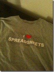 I heart spreadsheets t-shirt