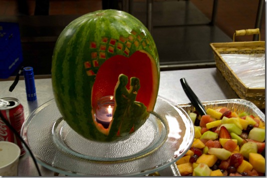 rehearsal dinner carved bride and groom watermelon
