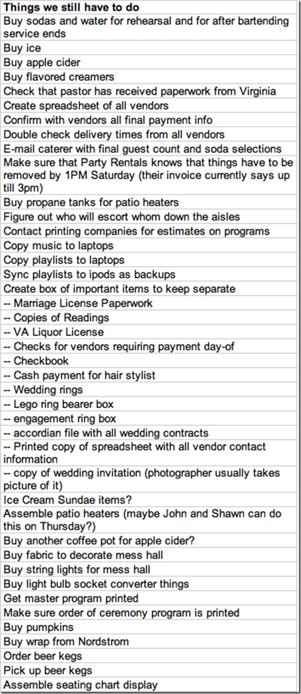 What our wedding to do lists looked like supernovabride wedding week to do list supernovabride junglespirit Gallery
